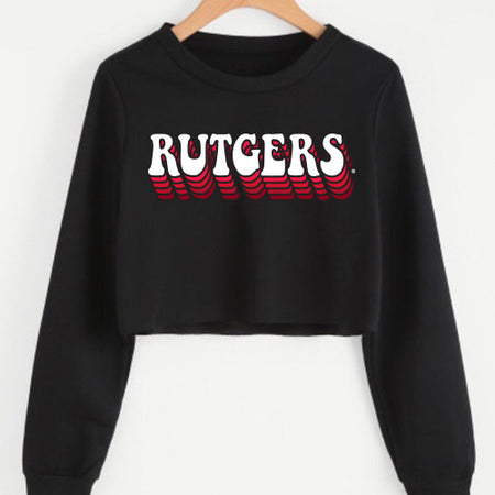 Rutgers Retro Black Cropped Crewneck
