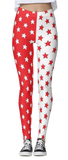 Red & White Split Stars Leggings