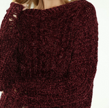 Wine Cable Knit Sweater