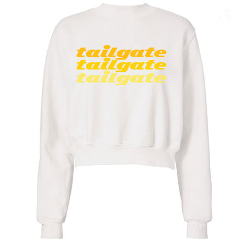 Maroon & Yellow Game Day Long Sleeve Crop Top