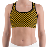 Gold & Black Checkered Sports Bra