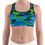 Green & Blue Camo Sports Bra