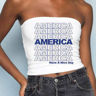 Blue America Have A Nice Day Tube Top - lo + jo, LLC