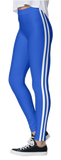 Blue Double White Stripe Leggings - lo + jo, LLC