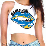 Blue & Yellow Game Day High Neck Crop Top - lo + jo, LLC