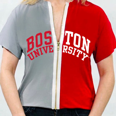 Boston University Half + Half Zipper Tee - lo + jo, LLC