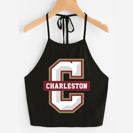 College of Charleston Black Halter Top