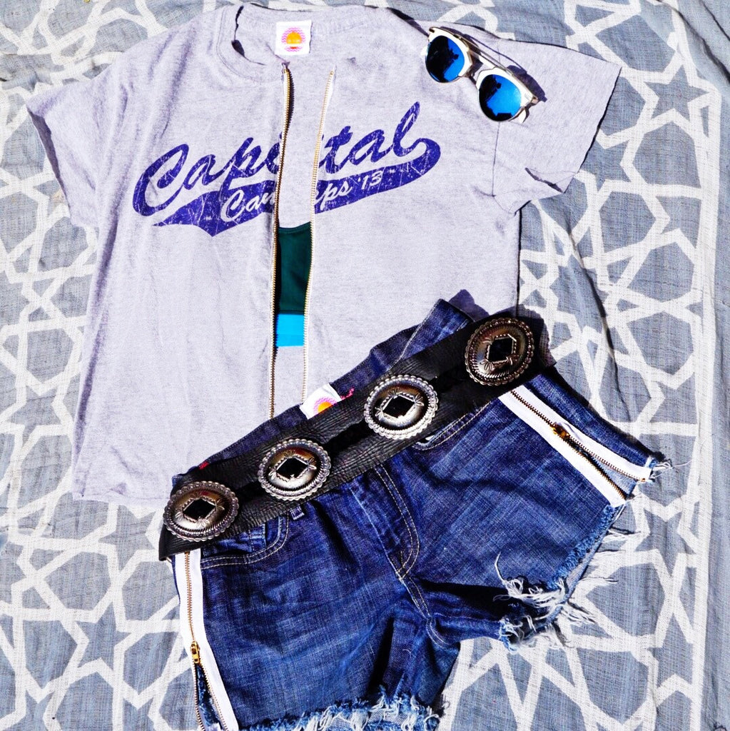 Zipper Denim Shorts