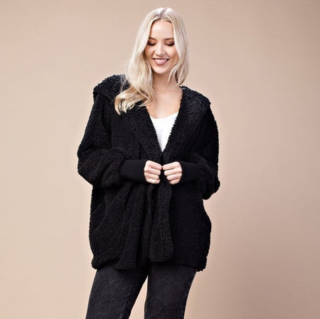Black Furry Bear Coat - lo + jo, LLC