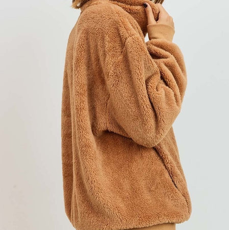 Taupe Furry Quarter Zip