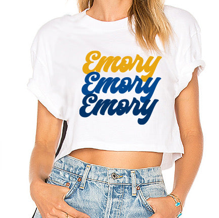 Emory Repeat White Cropped Tee
