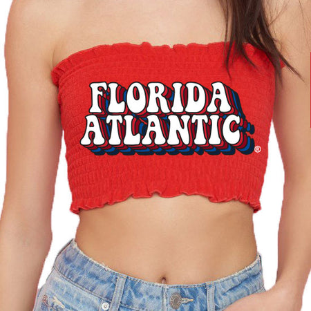 FAU Red Smocked Top