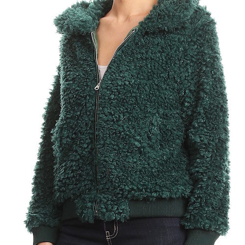 Emerald Furry Bear Coat - lo + jo, LLC