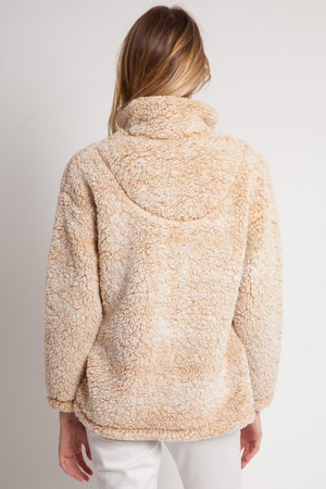 Beige Furry Quarter Zip - lo + jo, LLC