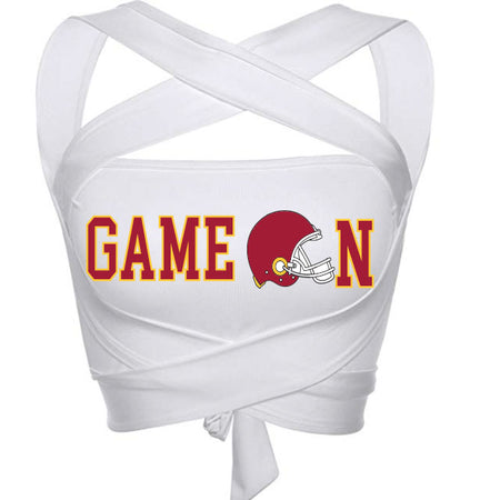 Red & Yellow Game On Helmet White Multiway Bandeau