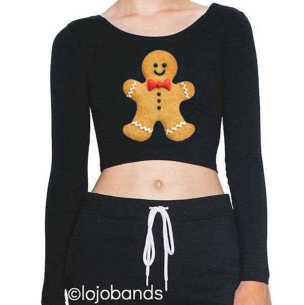 Gingerbread Black Long Sleeve Crop Top - lo + jo, LLC