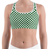 Green & White Checkered Sports Bra