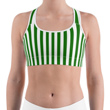 Green & White Striped Sports Bra