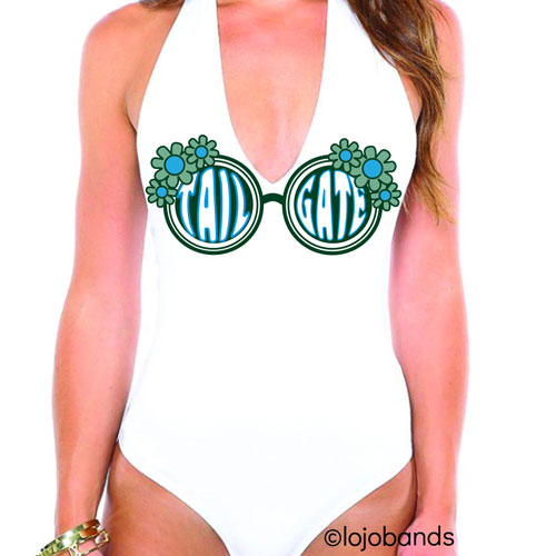 Green & Light Blue Tailgate Sunglasses Bodysuit - lo + jo, LLC