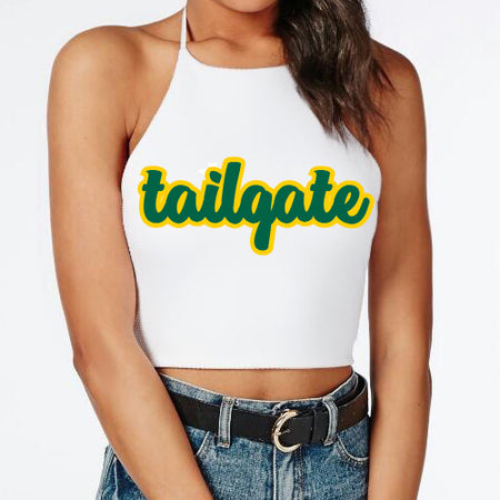 Green & Yellow Tailgate Halter Top