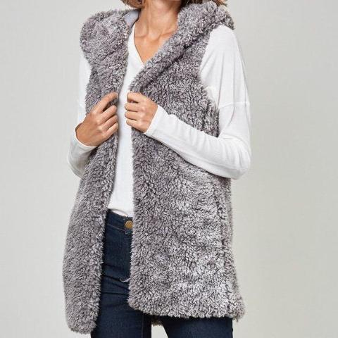 Grey Furry Vest - lo + jo, LLC