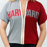 Harvard University Half + Half Zipper Tee - lo + jo, LLC