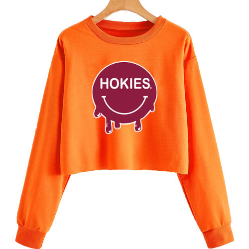 Virginia Tech Hokies Smile Cropped Crewneck