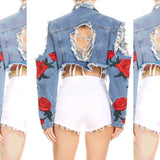 Rose Embellished Distressed Denim Jacket