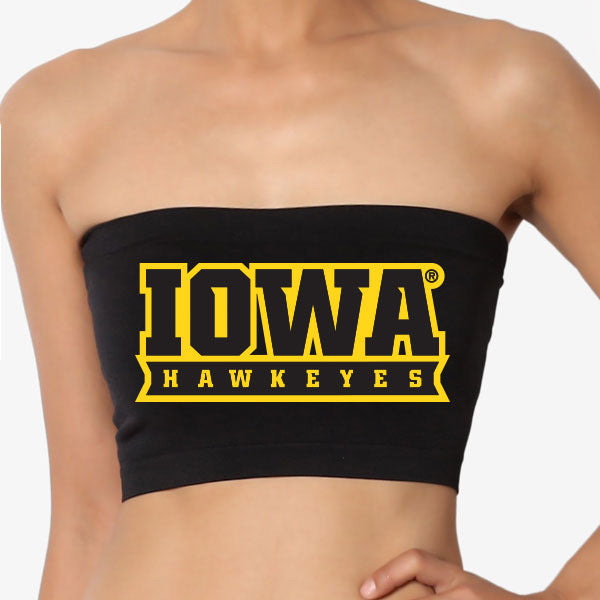 Iowa Hawkeyes Black Bandeau Top