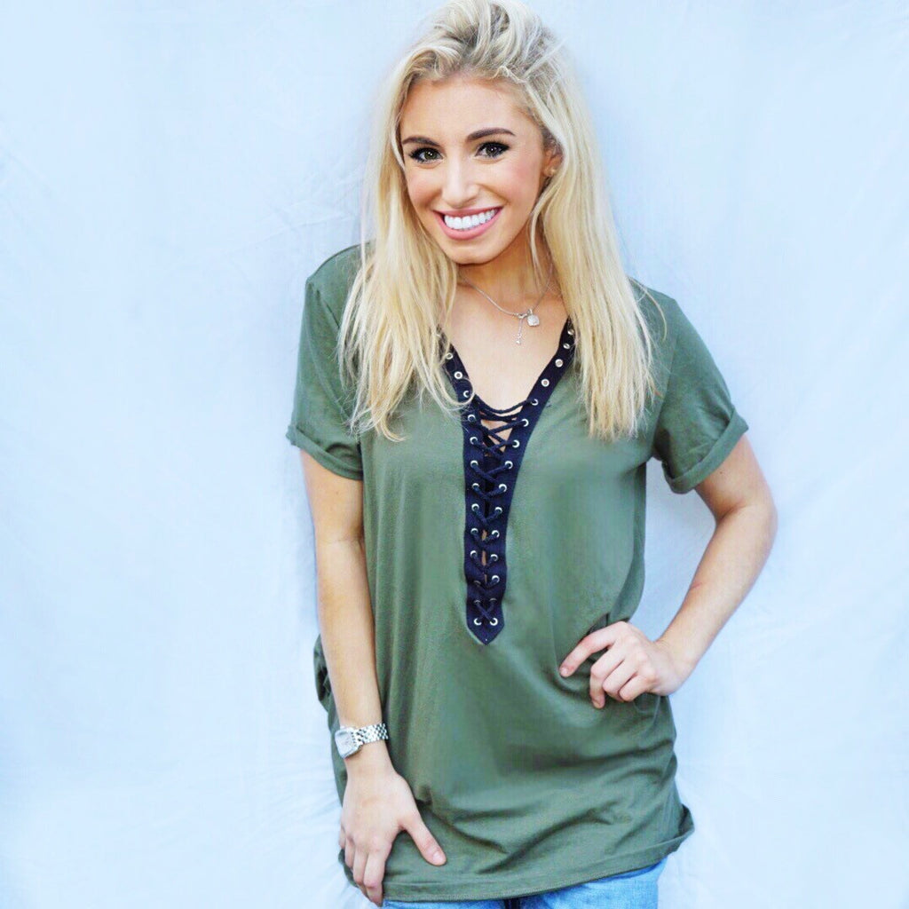 Olive Lace Up Tee - lo + jo, LLC