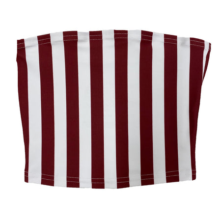 Maroon & White Striped Tube Top