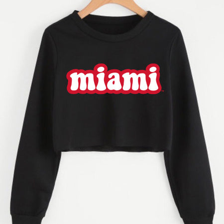 Miami University Black Cropped Crewneck