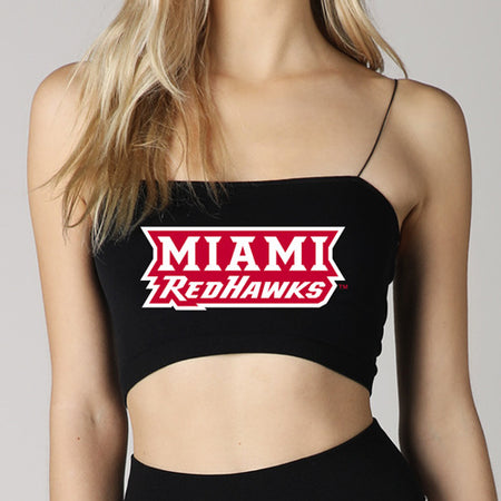 Miami University RedHawks Black Strap Bandeau Top