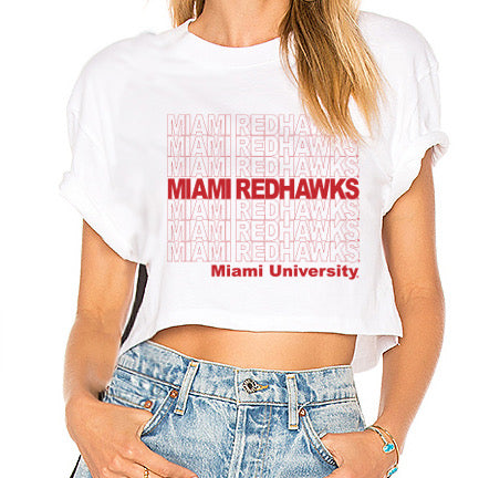 Miami University White Repeat Cropped Tee