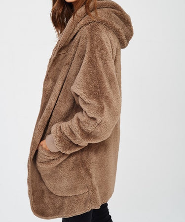 Mocha Furry Bear Coat
