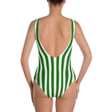 Green & White Striped One-Piece - lo + jo, LLC