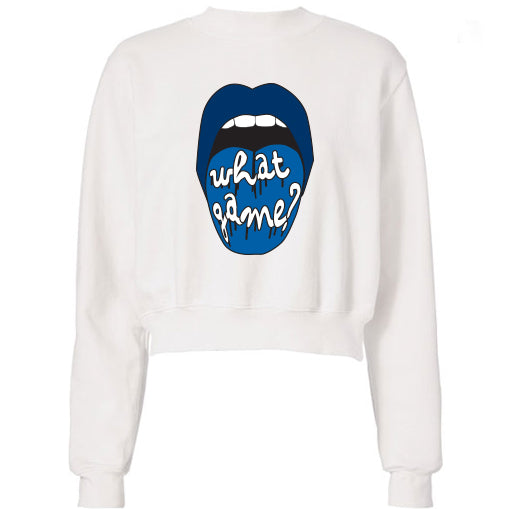 Navy What Game Lips Cropped Sweatshirt