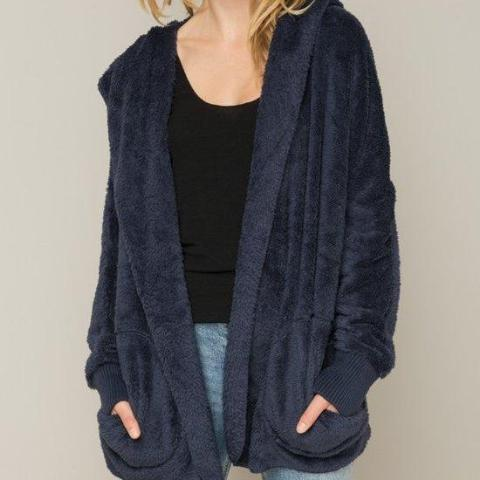 Navy Blue Furry Bear Coat