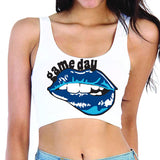 Navy & Light Blue Lips Game Day Crop Top