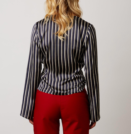 Striped Satin Tie Front Top