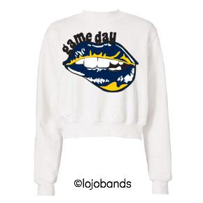 Navy & Yellow Game Day Cropped Sweatshirt