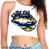 Game Day Lips High Neck Crop Top - lo + jo, LLC