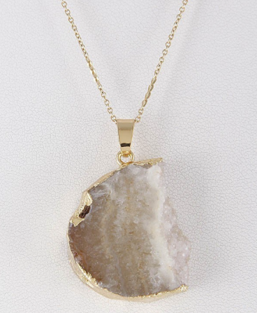 Gold Druzy Stone Necklace - lo + jo, LLC