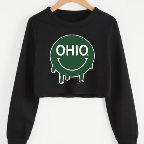 Ohio Bobcats Smile Cropped Crewneck