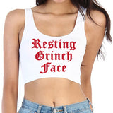 Old English Resting Grinch Face Crop Top