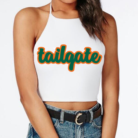 Green & Orange Tailgate Halter Top