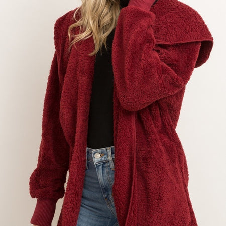 Burgundy Furry Bear Coat