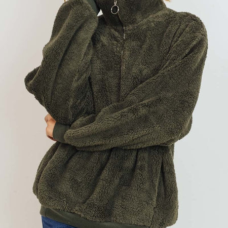 Olive Furry Quarter Zip