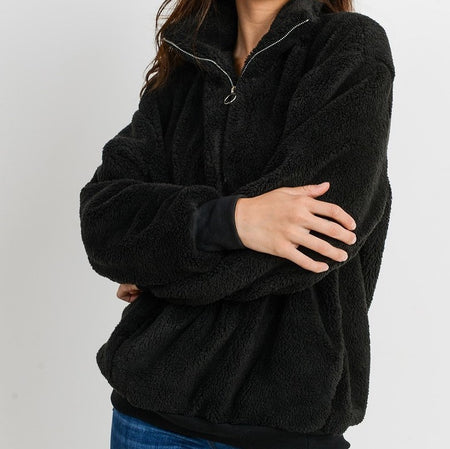 Black Furry Quarter Zip