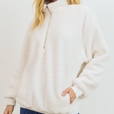 Ivory Furry Quarter Zip